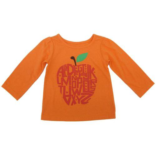 Sprockets Little Girls Orange Apple Letter Print Long Sleeved Shirt 4-6X