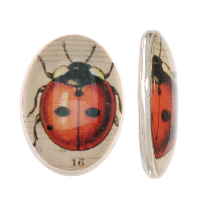 Tempered Glass Oval Cabochons Red And Black Ladybug 18x25mm (2)
