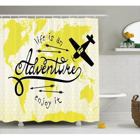 Adventure shower curtain life is an adventure quote map of the adventure shower curtain life is an adventure quote map of the world small airplane traveling gumiabroncs Image collections