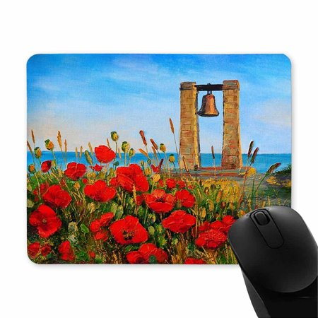 POP Oil Painting Poppies Near The Sea Oblong Shaped Gaming Mouse Pad 9x10 inch - image 1 of 2