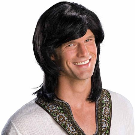 Adult Mens Black 70s Groovy Hippie Disco Costume Wig - Mens 70s Disco Costumes