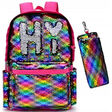 2f43d8d8ba91 Magic Reversible Sequin-School Backpack for Girls Boys Kids Teens Fashion  Glitter Mermaid Flip Sparkly Book Bag Gift Lightweight