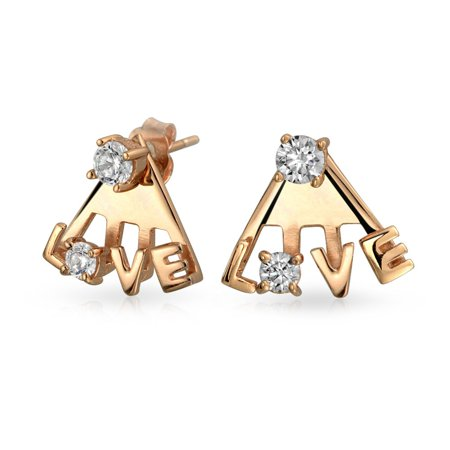 Cubic Zirconia Fashion CZ Ear Back Front Jacket Love Word Stud Earrings For Women For Teen Rose Gold 925 Sterling