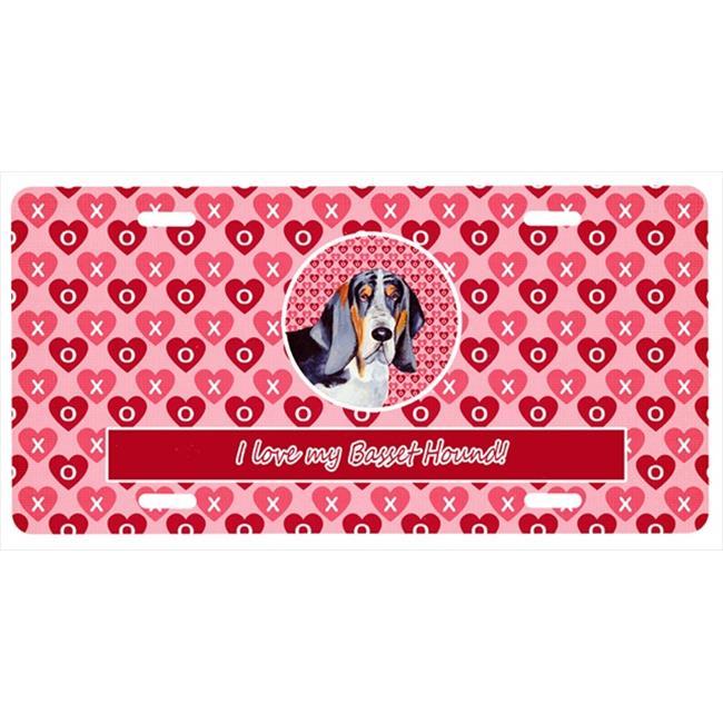 Carolines Treasures LH9147LP 12 x 6 in. Basset Hound Valentines Love and Hearts License Plate - image 1 de 1