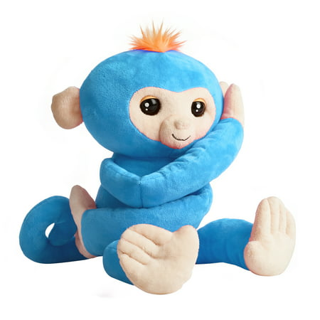 Taggies Monkey (Fingerlings HUGS - Boris (Blue) - Advanced Interactive Plush Baby Monkey Pet - by WowWee)