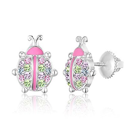 Children's Earrings - 925 Sterling Silver with a White Gold Tone Pink Enamel and Crystal LadyBug Screwback Earrings MADE WITH SWAROVSKI ELEMENTS Kids, Children, Girls, Baby