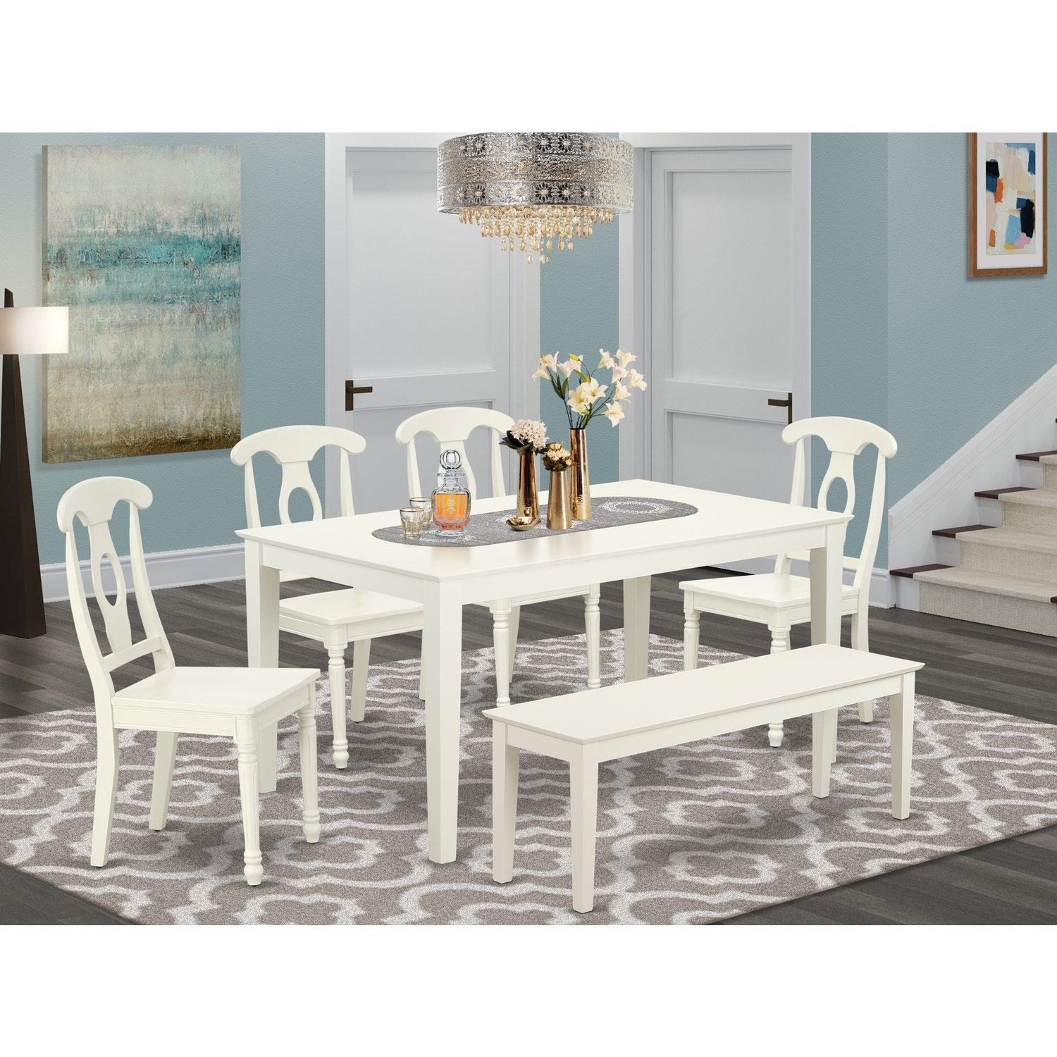 East West Furniture CAKE6-LWH-W 6PC Rectangular 60 inch Table and