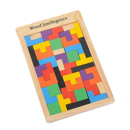 Colorful Wooden Tangram Jigsaw Building Blocks Game Tetris Puzzle for Kids Toy