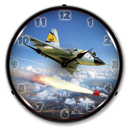 F-106 Delta Dark Fighter Jet LED Wall Clock, Retro/Vintage, Lighted, 14 inch