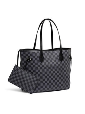 Daisy Rose Checkered Tote Shoulder Bag with inner pouch - PU Vegan Leather (Black)