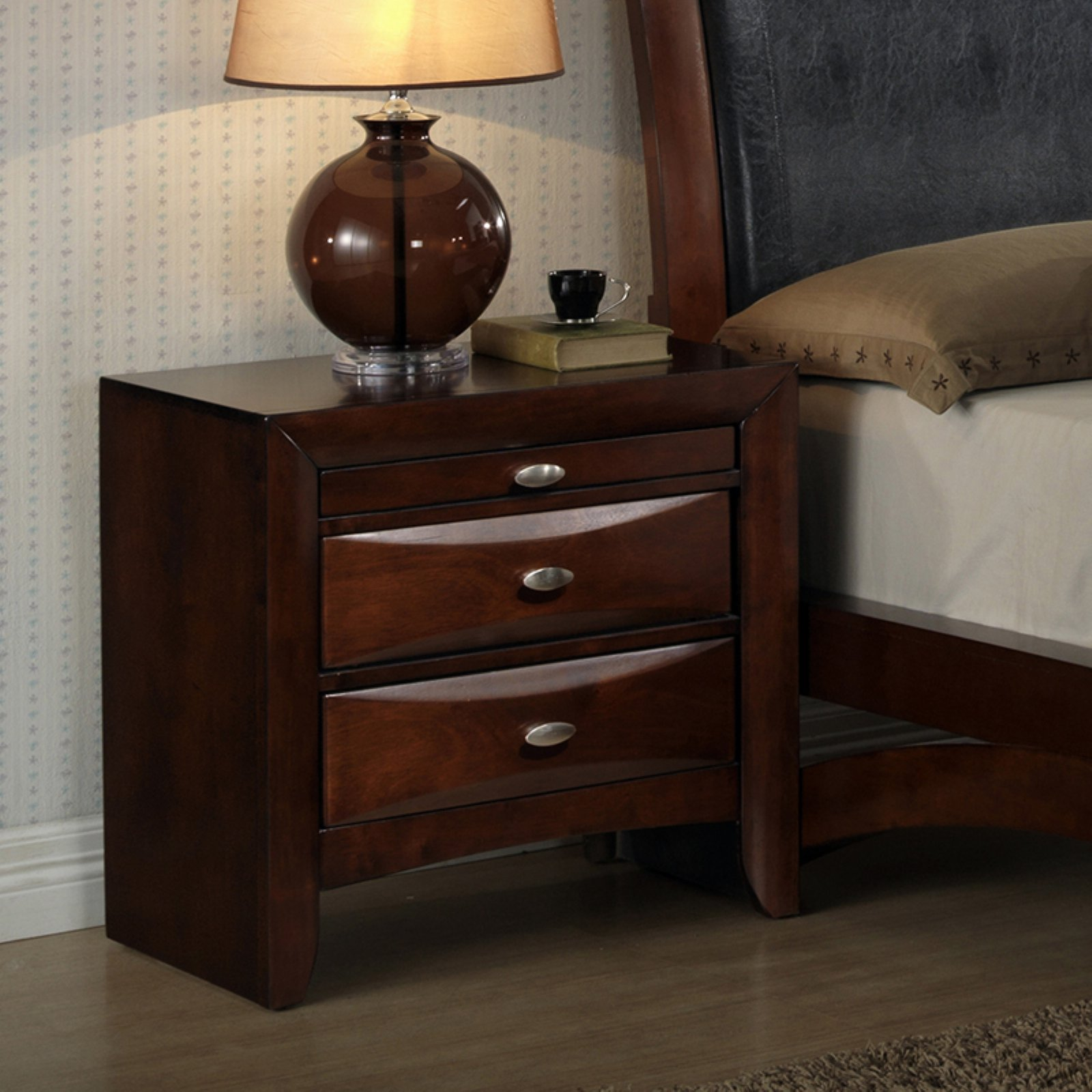 Roundhill Emily Contemporary Solid Wood Construction Nightstand, Espresso