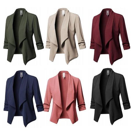 Plus Size Blazer Women Solid Color Suit Long Sleeved Lapel Casual Small Suit Slim Ladies Blazers Work Wear Jacket - Kids Green Blazer