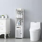 Veryke Bathroom Storage Cabinets, Floor Bathroom Cabinets, Linen Tower, Side Storage Organizer Cabinet with Cupboard, Corner Shelf for Bathroom, White