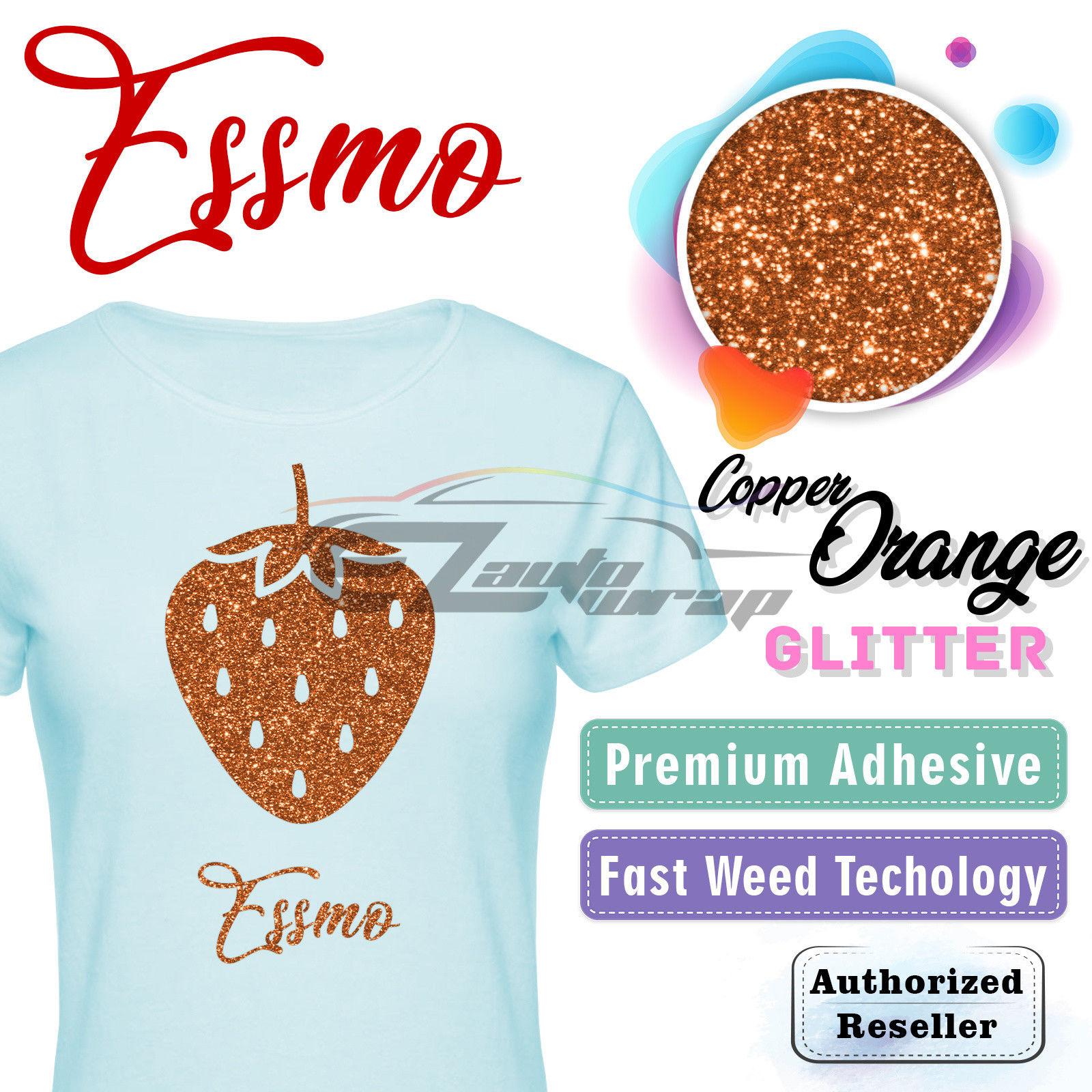 "ESSMO Copper Orange Glitter Heat Transfer Vinyl HTV Sheet T-Shirt 20"" Wide Iron On Heat Press 20""x12"""