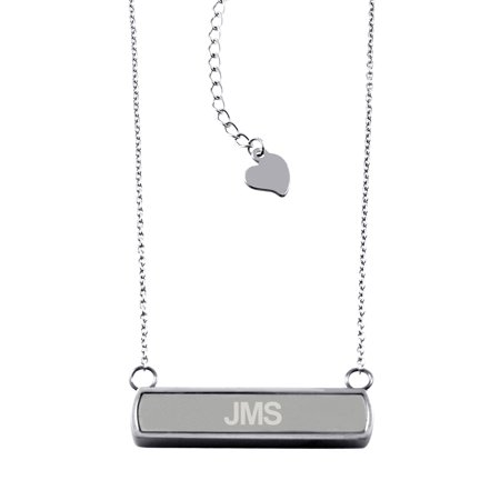Stainless Steel Laser Engraved Personalized Name Initials Horizontal Bar Charm Necklace Pendant