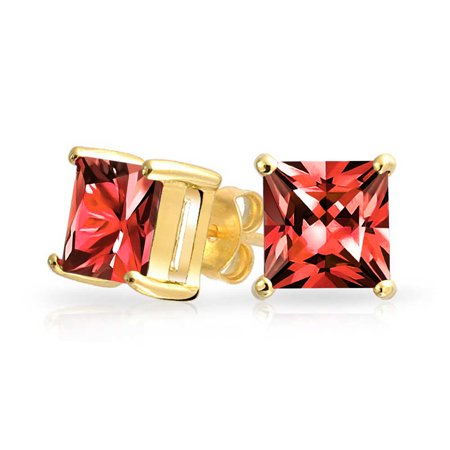 Ruby Simulated Earring (1CT Red Square Cubic Zirconia Brilliant Princess Cut CZ Stud Earrings 14K Gold Plated Sterling Silver Simulated Ruby)