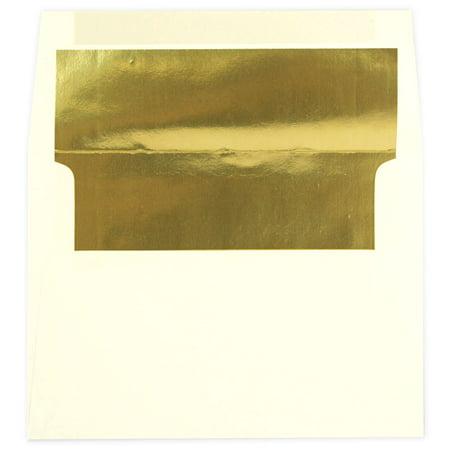 JAM Paper A7 Foil Lined Invitation Envelopes, 5 1/4 x 7 1/4, Ecru with Gold Foil Lining, 250/pack