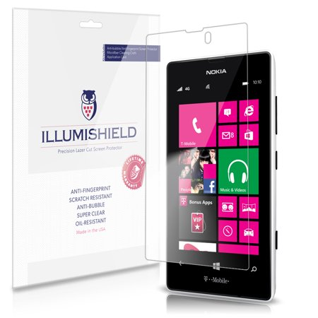 iLLumiShield Phone Screen Protector w Anti-Bubble/Print 3x for Nokia Lumia 521 (Nokia 521 Screen Replacement)