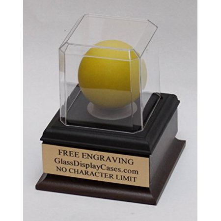 Lacrosse Ball Personalized Acrylic Display Case with Beveled Edges, Cherry Finish Wood Platform Base and Custom Stand