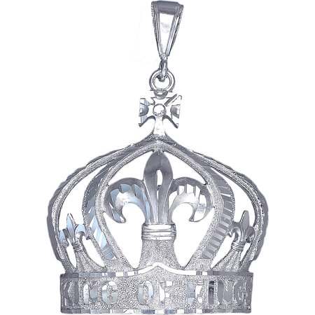 Diamond Crown Charm - Large Sterling Silver King Crown Charm Pendant Necklace 10 Grams 2.2 Inches with Diamond Cut Finish and 24 Inch Figaro Chain