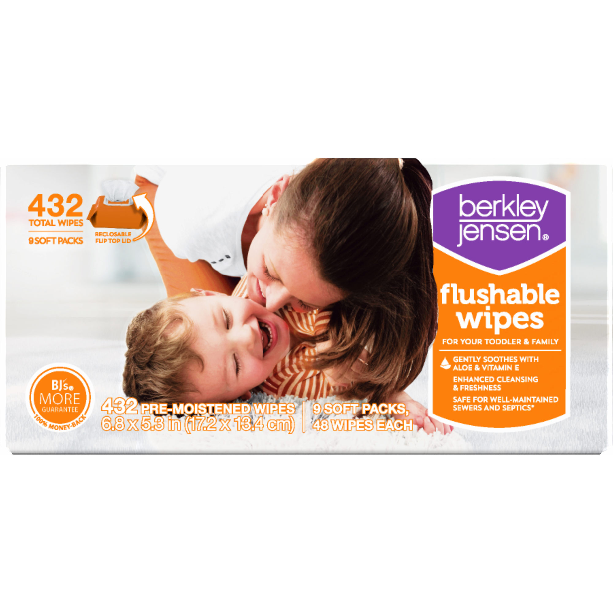 Product of Berkley Jensen Family & Toddler Moist Flushable Wipes, 432 ct. (baby wipes - Wholesale Price - Baby Wipes [Bulk Savings]