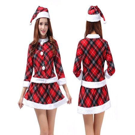 Top Skirt G-string - Women Sexy Christmas Babydoll G-String Night Underwear Cap Top Skirt Set