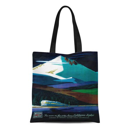 SIDONKU Canvas Tote Bag Lantern Western Pacific California Zephyr Vintage Press Collection Reusable Handbag Shoulder Grocery Shopping (Zephyr Bag)