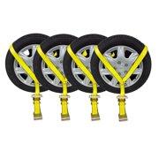 "(4 Pack) 2""x10' Lasso Ratchet Strap Flat Hook Wheel Net Auto Tow Towing Tie Down"
