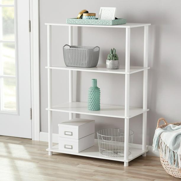 Mainstays No Tools 4 Shelf Standard Storage Bookshelf, White - Walmart.com  - Walmart.com