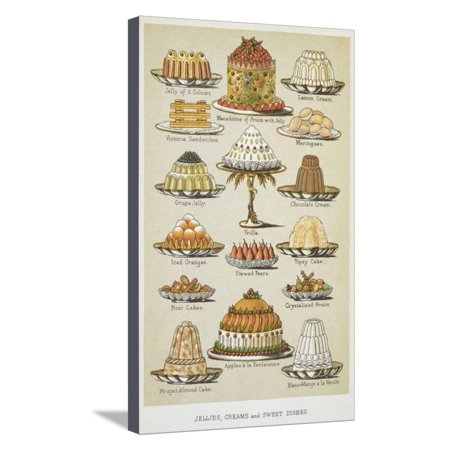 Isabella Cream - Jellies, Creams and Sweet Dishes Stretched Canvas Print Wall Art By Isabella Beeton