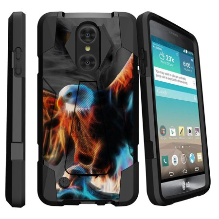 LG K8 Case (2017 Release) | LG Aristo Case | LG LV3 Case (MS210) [Shock Fusion] Dual Layer Case with Built In Kickstand - Blazing - Halloween Blaze 2017