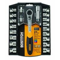 BOSTITCH BTMT72286 21-Piece 3/8-Inch Pass Thru Socket Set
