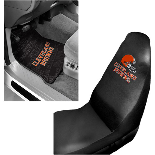 NFL Cleveland Browns 2 pc Front Floor Mats and Car Seat Cover Value Bundle