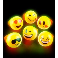 """Lumistick Assorted 1"""" Light-up Flashing LED Emoji Smiley Face Party Favor Rings, 5 pieces"""