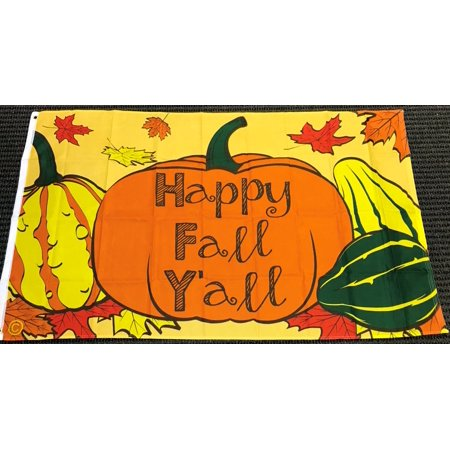 3x5 Happy Fall Yall Flag Pumpkin Squash Thanksgiving Outdoor Banner Decoration - Thanksgiving Outdoor Decor