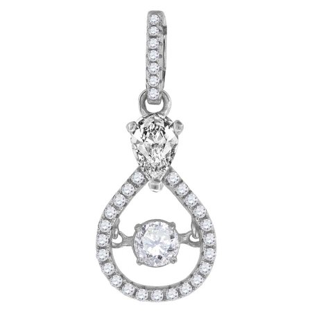 Sparkle Shades - 925 Sterling Silver Womens Sparkling Shaking Cubic Zirconia CZ in Center of Tear Drop Pendant Charm