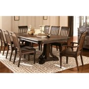 Empress Inspired Grand  Rustic Espresso Dining Set with Metal Accents 1 Table, 6 Side Chairs, 2 Arm Chairs
