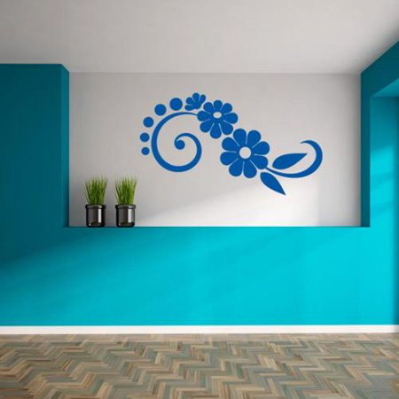 Style And Apply Floral Wave Wall Decal Vinyl Art Home