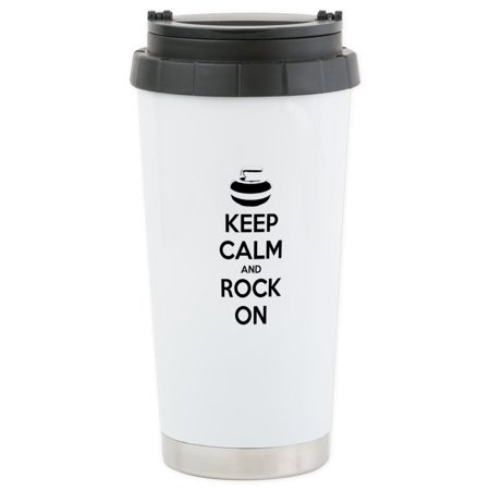 CafePress - Keep Calm And Rock On - Curling Travel Mug - Stainless Steel Travel Mug, Insulated 16 oz. Coffee Tumbler