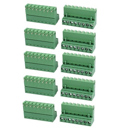 10Pcs 300V 10A 8P Poles PCB Mounted Screw Terminal Block Connector Army Green