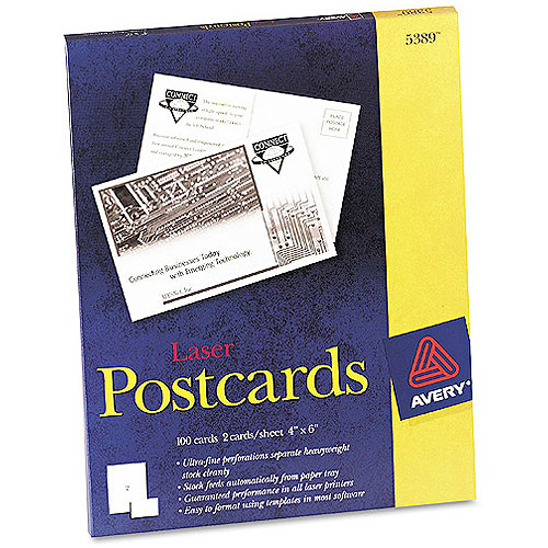 "Avery Postcards for Laser Printers, 4"" x 6"", White, Uncoated, Box of 100."