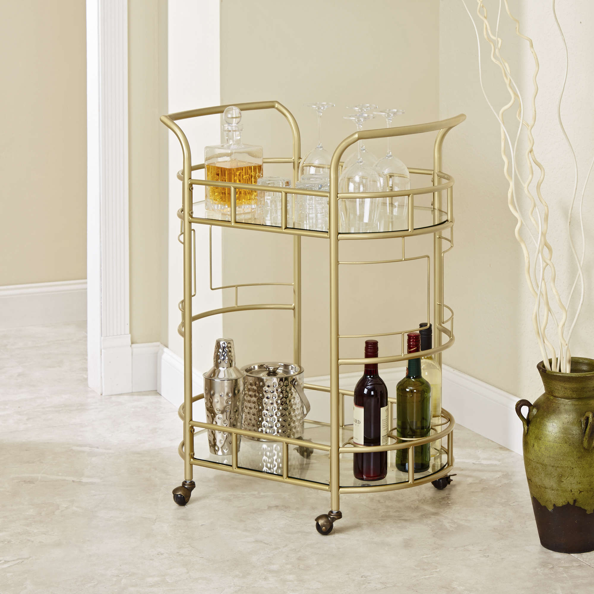 Sinclair 2-Tier Serving Cart in Gold