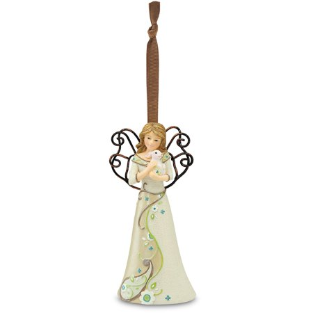 """Pavilion - 5  Floral Angel holding Bunny Christmas Tree Ornament 4.5"""""""