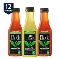 Pure Leaf Iced Tea, 0 calories Unsweetened Variety Pack, Real Brewed Tea, 18.5 Fl Oz. bottles (12-pack)