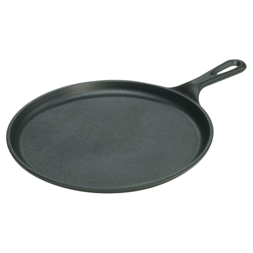 "Lodge 10.5"" Round Griddle, Seasoned Cast Iron, L9OG3, 10.5 Inch Diameter"