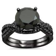 Noori Collection Noori 18k Black Gold 2 3/5ct TDW Certified Black Diamond Engagement Ring Bridal Set