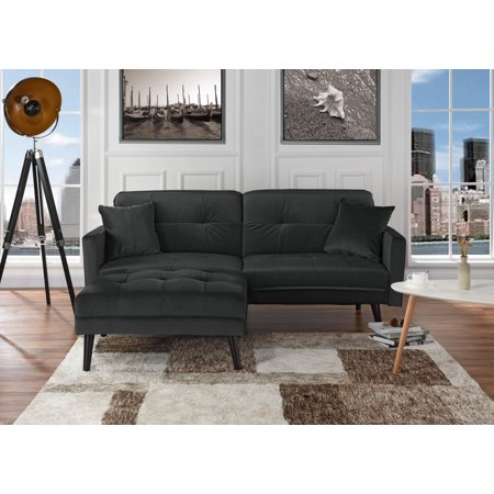 Mid Century Modern Brush Microfiber Futon Sofa Bed Living Room Sleeper Couch Dark Grey