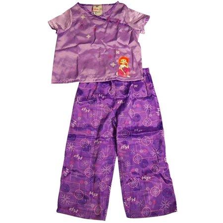Disney Toddler Little Girls Short Sleeve Satin Sleep Pajama Set, 8383 purple / 2/3 (Girl Satin Pajamas)