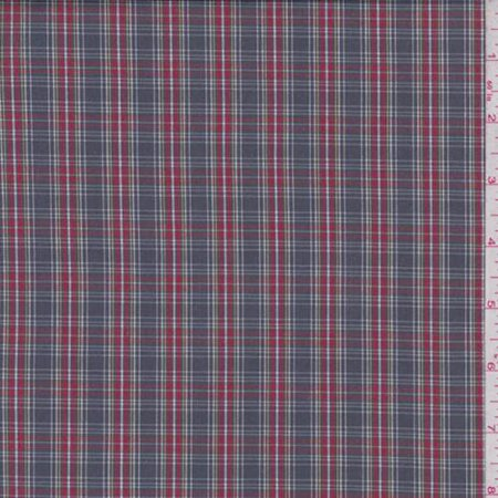 Graphite/Red Plaid Shirting, Fabric By the Yard