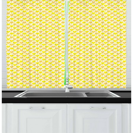 Gingko Curtains 2 Panels Set, Autumn Tones Inspired Pastel Vibrant Biloba Petals Blossom Essence Theme, Window Drapes for Living Room Bedroom, 55W X 39L Inches, Yellow Mustard White, by Ambesonne